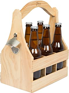 Wooden Beer Caddy Carrier w/ Bottle Opener and Removable Inserts