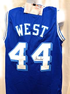 Jerry West Los Angeles Lakers Signed Autograph Rare Blue Custom Jersey JSA Witnessed Certified