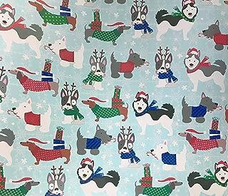 Festive Multi Dog Breeds Scottie Husky Dachshund French Bulldog in Winter Attire Celebrating The Holiday Season Christmas Gift Wrapping Paper 2.5' x 12'