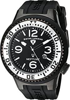 Swiss Legend Men's 21818P-BB-01-SA Neptune Black Dial Black Silicone Watch
