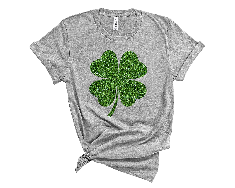 Women's St Patricks day tee shirt New item service Glitter Cute Shamrock Patty