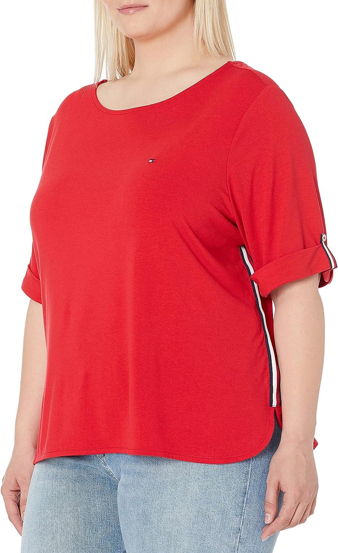 Tommy Hilfiger Women's Plus Size Boatneck Roll Tab Shirt