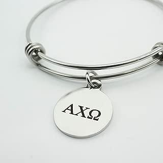 Alpha Chi Omega Sorority Bracelet Stainless Steel Expandable Bangle Greek Life Bid Night Gift Big Little Sister