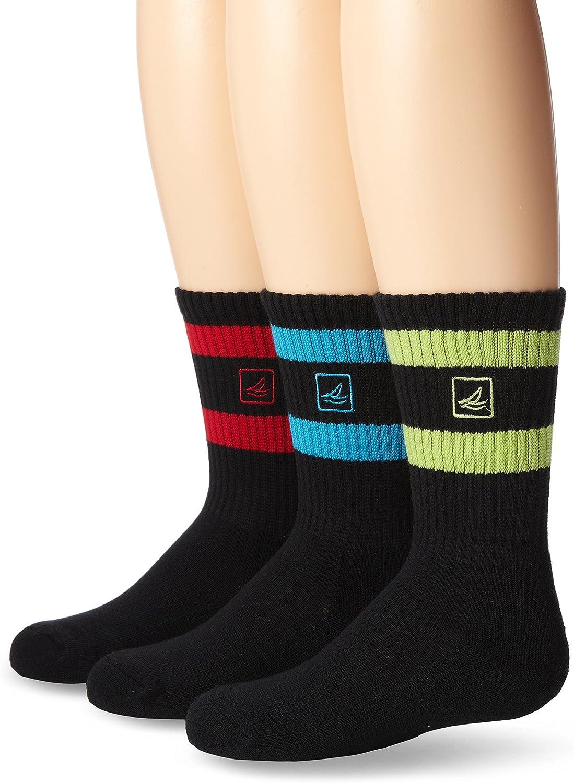 Sperry Boys' Double Stripe Cushion 3 Pack Crew Socks, Black, Shoe Size: 9-1.5