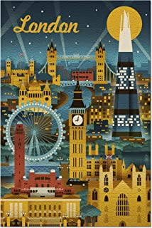 London, England - Retro Skyline (Premium 1000 Piece Jigsaw Puzzle for Adults, 20x30, Made in USA!)