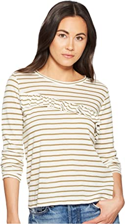 Stripe Asymmetrical Ruffle Top