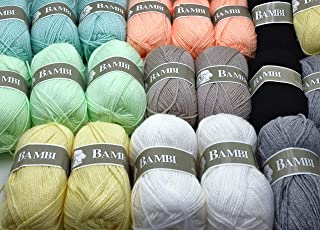 Lot de 20 Pelotes laine idéale layette couleurs assorties pour crochet tricot loisirs créatifs