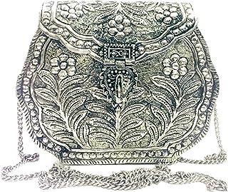 Trend Overseas Indian Vintage Brass silver clutch Purse antique Ethnic Handmade Women metal white wallet