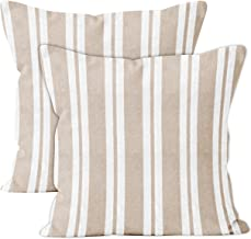 Encasa Homes Throw Cushion Cover 2pc Set - Beige Stripes - 18 x 18 inch Solid Dyed Cotton Canvas Square Accent Decorative Pillow Case for Couch Sofa Chair Bed & Home
