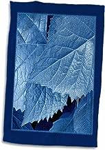 3D Rose Cobalt Metallic Leaves with Royal Blue Frame TWL_33455_1 Towel, 15 x 22