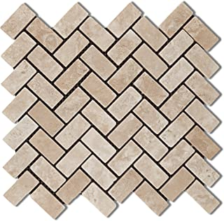 Durango Cream (Paredon) Travertine Tumbled Herringbone Mosaic Tile - Sample Piece