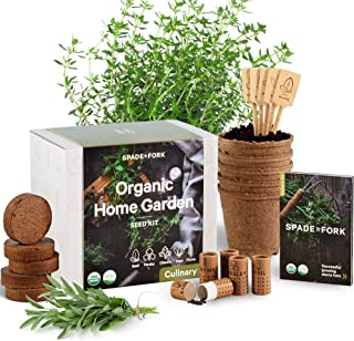 Indoor Herb Garden Starter Kit - Certified USDA Organic Non GMO - 5 Herb Seed Basil, Cilantro, Parsley, Sage, Thyme, Potti...