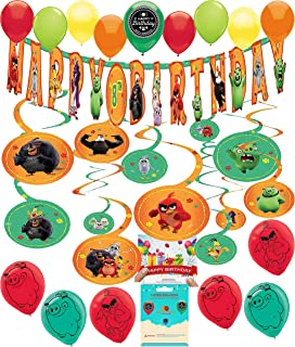 Angry Birds 2 Party Supplies Birthday Room Decoration Add Your Own Age Banner Swirls Balloons Bundle with Birthday Card and Treat Bags