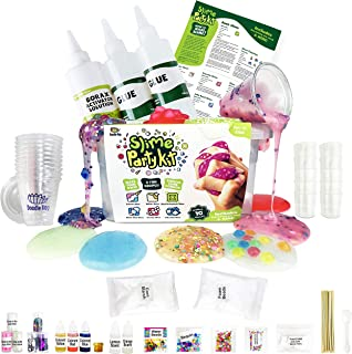 Incredible DIY Slime Party Kit for Girls and Boys (100+ Pieces). All You Need to Make 10 Colorful Slimes. Includes 6 Fun Slime Recipes Plus Cool Toppings for Endless Slime Combos!