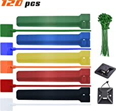 XIHUII Cable Ties Set - Cable Tie Mounts, Label Tag Cable Ties, Green Zip Ties and Reusable Fastening Wire Organizer Cord Rope Holder - 120 Count