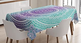 Ambesonne Blue and Purple Tablecloth, Mandala Ombre Eastern Mystic Abstract Old Fashion Bohemian Native Cosmos Art, Rectangular Table Cover for Dining Room Kitchen Decor, 60