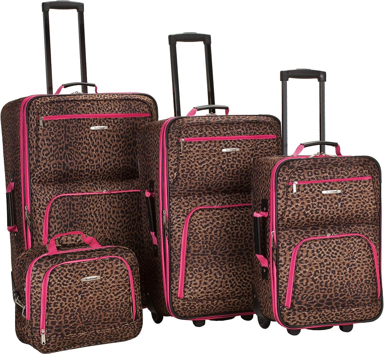 Rockland Jungle Softside Upright Luggage Set Leopard New color Pink 4-Pi 35% OFF