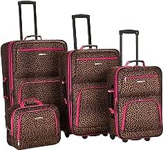 Rockland Luggage 4 Piece Luggage Set, Pink Leopard, Medium