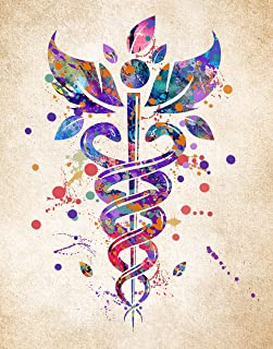 Caduceus Medical Symbol - Wall Art Print 11inch x 14inch - Perfect Gift for Medical Student under 15 Dollars