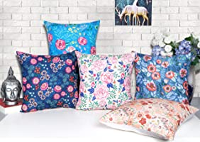 """Kridhay Natura Life Set of 5 Multi Colored Decorative Throw Hand Made Velvet Cushion Covers (24"""" x 24"""" OR 60cm x 60cm)"""