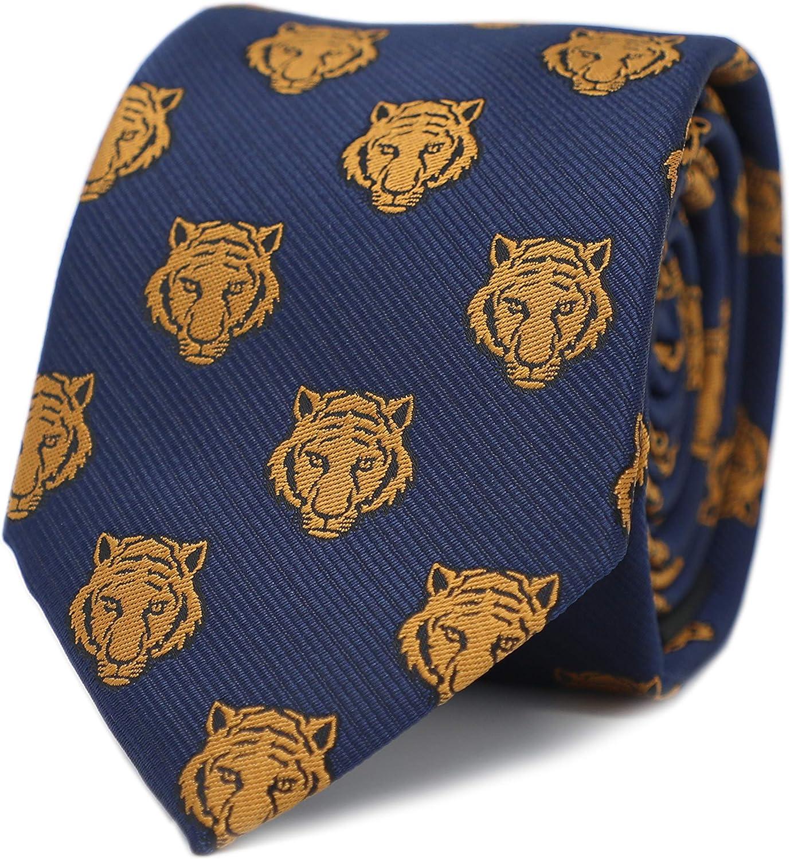 MENDEPOT Tiger Head Necktie With Box Microfiber Jacquard Gold Tiger Head Pattern tie