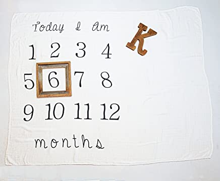 Kiddo Kind Baby Milestone Blanket - 52 x 48 - Makes Unique Photo Props for Babies - Extra Large Monthly Age Blankets Create Personalized Photography for Each Month - Perfect for Expecting Moms