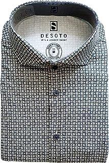 DESOTO Camisa de manga larga para hombre con cuello de tiburón, sin planchado, 43107-3
