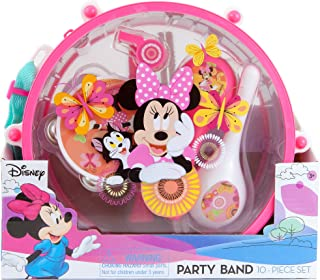 Disney Minnie Mouse Clubhouse Party Band 10 piece Set | 1 Drum 1 Whistle 1 Flute Tambourine 2 Maracas 2 Sticks 2 Castanets | Kids Musical Educational Toy Gift.