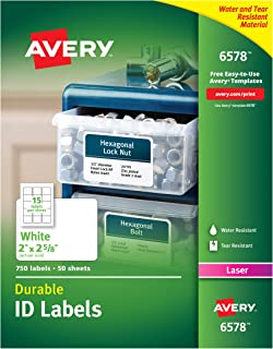 Avery Durable White Cover Up ID Labels for Laser Printers, 2