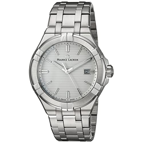 Maurice Lacroix Mens Aikon Quartz Watch with Stainless-Steel Strap, Silver, 23 (