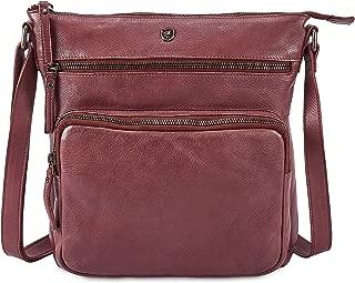 Women's Crossbody Real Leather Triple Zip Bag, Purse, Travel Bag