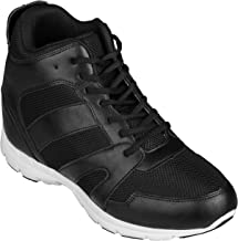 CALTO Men's Invisible Height Increasing Elevator Shoes - Black Leather/Mesh Lace-up Sporty Trainers - 4 Inches Taller - G3330