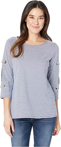 Yarn-Dye Mini Stripe 3/4 Sleeve Top w/ Big Eyelets