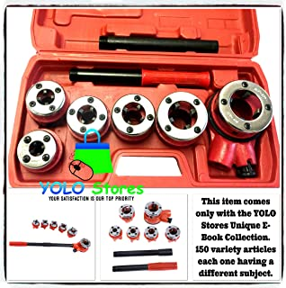 Ratchet Pipe Ratcheting Kit w/6 Dies, Threader Tool Set & Storage Case, Pipes Cutter Gas Metal New By YOLO Stores