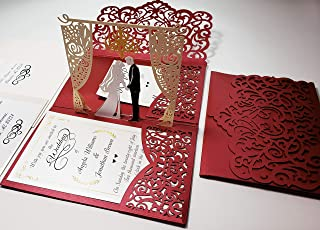 Pop up Wedding Invitation Pocket-Folds with Envelope. Memorable, Unique and Elegant Laser Cut 3D Design by Tada Cards. Perfect for Wedding Thank You Cards (Red Chandelier 10-Pack)