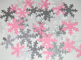 Snowflake Confetti -100 White and Silver Glitter and Baby Pink snowflakes - Winter Baby shower Birthday Party Table Decorations