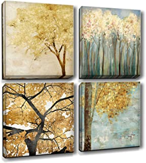 MARG Wall Decorations for Living Room, Forest Canvas Wall Art, 4 Panels 12x12 inch/Piece, Wall Decor