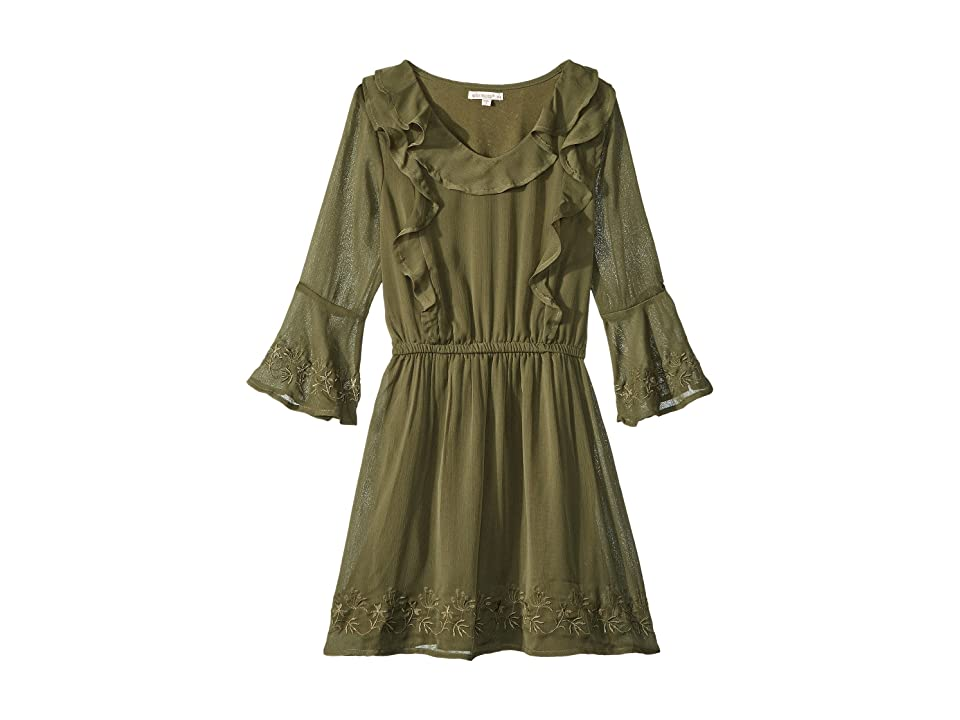 Ella Moss Girl Bell Sleeve Dress (Big Kids) (Deep Lichen Green) Girl