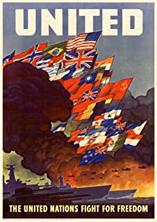 UpCrafts Studio Design AmericanWW2PropagandaPoster, Size 11.7x16.5 inches - The United Nations Fight for Freedom - WWII Military History Replicas Decor