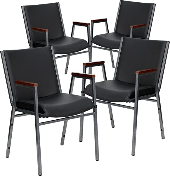 Flash Furniture 4 Pk HERCULES Series Heavy Duty Black Vinyl Stack Chair With Arms