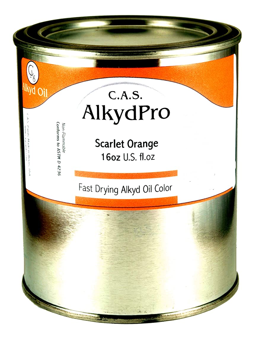 C.A.S. Paints AlkydPro Fast-Drying Oil Color Paint Can, 16-Ounce, Scarlet Orange