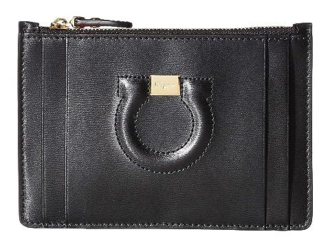 Salvatore Ferragamo Gancio City Zippered Leather Card Case