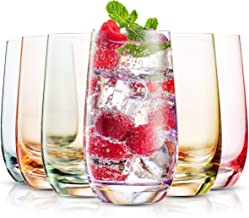 MITBAK 13- OZ Colored Highball Glasses (Set of 6)   Lead Free Drinking Glasses Tumblers for Mixed Drinks, Water, Juice beer, cocktail   Glassware Set, Excellent Gift   Made in slovakia