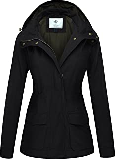 WenVen Women's Casual Military Hooded Anoraks Jacket with Drawstring