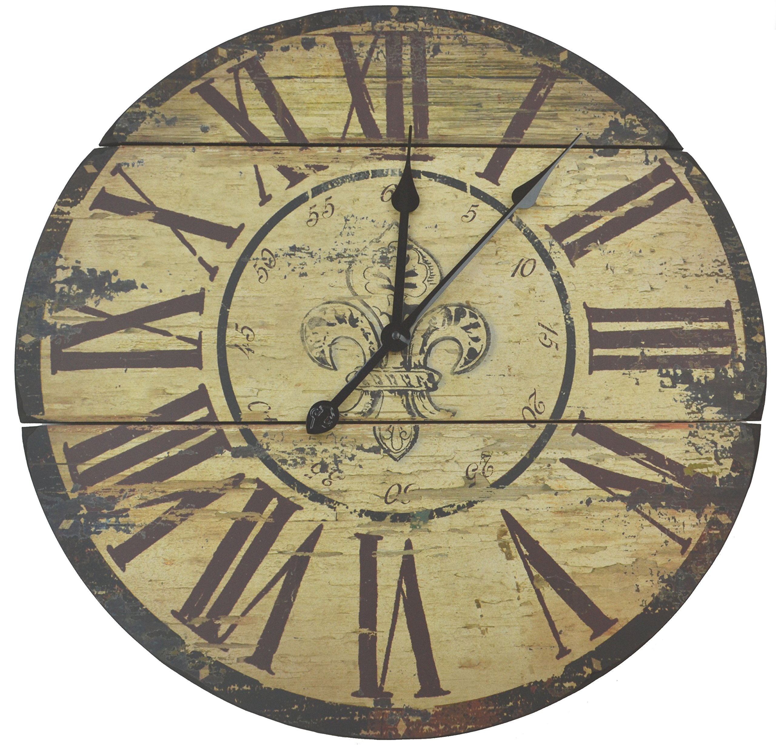 Amazon Com Lulu Decor Fleur De Lis Wood Wall Clock Rustic Round Clock 23 5 With Roman Numerals For Living Room Office Space Home Kitchen