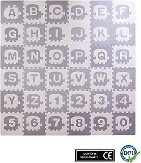 BodenMax CRS-TLN3010-36 Alfombrilla Puzzle protectora de espuma para niños y bebés con diferentes diseños de letras y numeros de 30x30x1 cm con 36 piezas