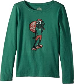 Life is Good Kids - Holiday Skater Long Sleeve Crusher Tee (Little Kids/Big Kids)