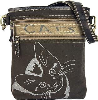 Sunsa Damen Tasche Umhängetasche, Handtasche aus Canvas & Leder. Nachhaltige Produkte, kleine Vintage Stoff Shoulder bag, ...