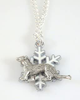 Snowflake and Ferret Necklace 1703