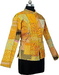 iinfinize Men's Quilted Jacket Quilted Groom Suit Kantha Waist Cotton Blazer Lightweight Cotton Blazer for Men's Short Sle...